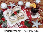 christmas mince pies and holly...   Shutterstock . vector #738147733