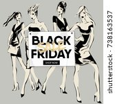 black friday sale banner with... | Shutterstock .eps vector #738163537