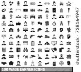 100 wage earner icons set in... | Shutterstock . vector #738164947