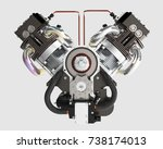 automotive engine without... | Shutterstock . vector #738174013