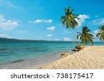 palm trees on a beautiful beach ... | Shutterstock . vector #738175417