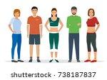 group of people in sportswear... | Shutterstock . vector #738187837