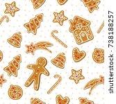 christmas gingerbread cookies.... | Shutterstock .eps vector #738188257