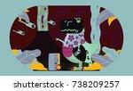 t rex illustration | Shutterstock .eps vector #738209257