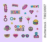 vector doodle girly party and... | Shutterstock .eps vector #738210007