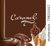liquid chocolate  caramel or... | Shutterstock .eps vector #738221017