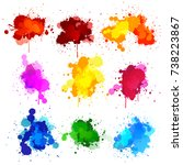 colors watercolor paint stains... | Shutterstock .eps vector #738223867