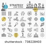 strategy line icons with... | Shutterstock .eps vector #738228403