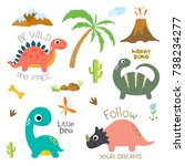 cute vector dinosaurs isolated... | Shutterstock .eps vector #738234277
