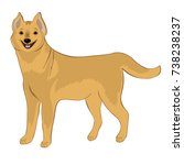 smiling yellow dog. the symbol... | Shutterstock .eps vector #738238237