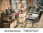workshop of hairdressers.... | Shutterstock . vector #738247267
