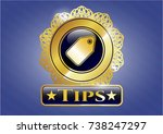 shiny badge with tag icon and...   Shutterstock .eps vector #738247297