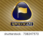 golden badge with flag icon...   Shutterstock .eps vector #738247573