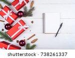 top view of blank notebook on... | Shutterstock . vector #738261337
