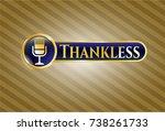 golden badge with microphone...   Shutterstock .eps vector #738261733