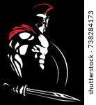 illustration of spartan warrior. | Shutterstock .eps vector #738284173