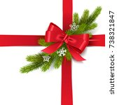 Vector Red Bow With Fir Branch