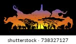 Visual double exposure drawing silhouettes of beautiful elephant family animal wildlife collection in Africa or Savannah, concept travel in the zoo, abstract sunset background for vector illustration | Shutterstock vector #738327127