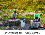 women wash clothes by the... | Shutterstock . vector #738332953