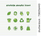 ecology doodle icons on paper...   Shutterstock .eps vector #738356443
