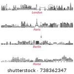 london  paris  berlin and rome... | Shutterstock .eps vector #738362347