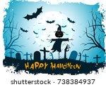 grungy halloween background....   Shutterstock .eps vector #738384937