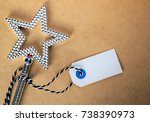 Small photo of shiny christmas star with text card or text space