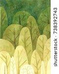 watercolor tree pattern... | Shutterstock . vector #738392743
