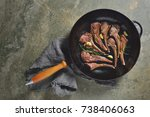 lamb chops sauteed in a cast... | Shutterstock . vector #738406063