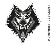 angry face of terrible wolf | Shutterstock .eps vector #738423067
