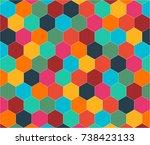 colorful abstract hexagon...   Shutterstock .eps vector #738423133
