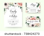 wedding invitation floral... | Shutterstock .eps vector #738424273