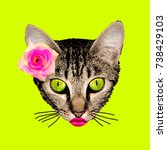 retro kitty contemporary art... | Shutterstock . vector #738429103