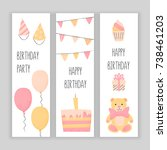happy birthday banner set ... | Shutterstock .eps vector #738461203
