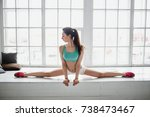 beautiful sporty girl do splits ...   Shutterstock . vector #738473467