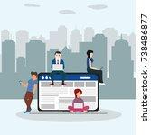 social network web site surfing ... | Shutterstock .eps vector #738486877