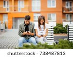 mobile phone addiction concept  ... | Shutterstock . vector #738487813