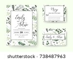 Wedding invite, invitation rsvp card vector floral greenery silhouette design: palm fern tree, foliage natural branches, green leaves, herbs, berries tropical heel hand drawn silhouette Watercolor set | Shutterstock vector #738487963