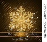 shining golden snowflakes ... | Shutterstock .eps vector #738497287