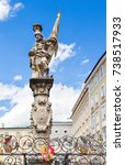 Small photo of St. Florian statue on Alter markt square landmark of Salzburg, Austria