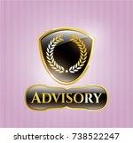 golden emblem with laurel... | Shutterstock .eps vector #738522247