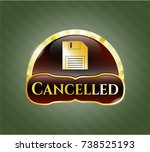 golden emblem with diskette... | Shutterstock .eps vector #738525193