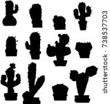 cactus hand sketch stylized... | Shutterstock .eps vector #738537703