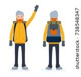 climber set  tourist man front... | Shutterstock .eps vector #738548347
