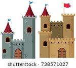 two castle towers with flags... | Shutterstock .eps vector #738571027