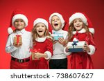 two happy girls and boys in... | Shutterstock . vector #738607627