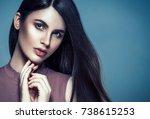 beautiful woman face close up... | Shutterstock . vector #738615253