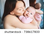 portrait of mother and baby.... | Shutterstock . vector #738617833