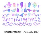 set of isolated scary elements. ... | Shutterstock .eps vector #738632107