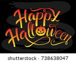 happy halloween orange and... | Shutterstock .eps vector #738638047